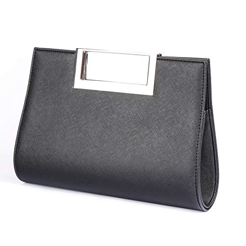 WALLYN'S Clutch Purse for Women PU Leather/Straw Evening Party Metal Grip Cut it out Handbag with Shoulder Chain Strap