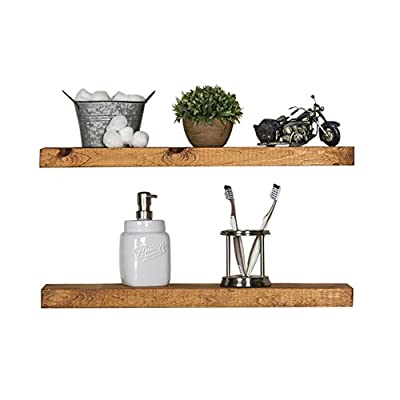 Del Hutson Designs Rustic Pine Solid Wood Floating Shelves Natural Farmhouse Contemporary Living Decor (Walnut, 24 Inch) - Great Display for pictures, favorite books, and other decor Handmade in the USA using pine wood Includes Floating Brackets for mounting - wall-shelves, living-room-furniture, living-room - 41uDq8BJz L. SS400  -