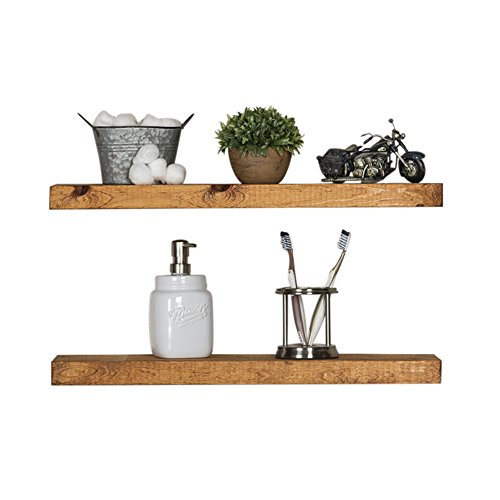 Del Hutson Designs-Rustic Pine Floating Shelves (Walnut, 24 Inch)