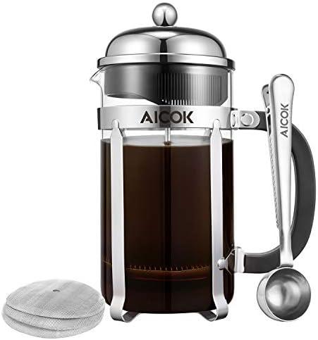 Aicok French Press Coffee Maker 34 oz 1L 8-Cup,Tea Maker