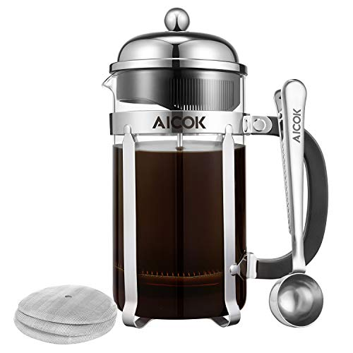 Aicok French Press Coffee Maker 34 oz 1L 8-Cup,Tea Maker, French Press Machine, Heat-Resistant Borosilicate Glass Coffee Press, Tea Press with 3 Bonus Stainless Steel Filter Screens and 1 Scoop