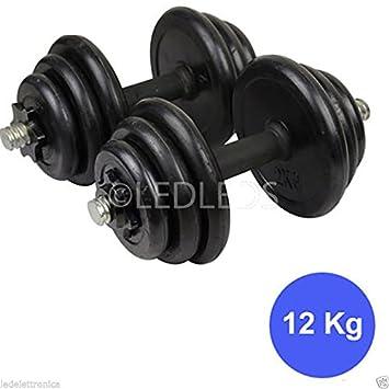 Set de 2 mancuernas y discos de gimnasio de 12 kg. Fitness. 6 kg por mancuerna: Amazon.es: Bricolaje y herramientas