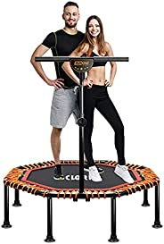 """CLORIS Foldable Fitness Trampoline Mini, Portable 50"""" Load 400 lbs Trampoline with Adjustable Handle Exer"""