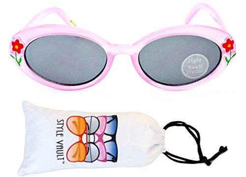 Pastel Crystal Petals (Kd33-vp infant toddler Kids Childrens girls (6 month~ 2 year old) cateye Sunglasses (B3222F Crystal Pink-Dark Lens, uv400))