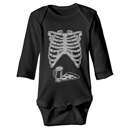 KIDDDDS Baby Ribcage with Pizza and Beer Halloween Long Sleeve Romper Onesie Bodysuit -