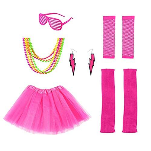 STOBOK 6pcs Women 80s Party Costume Outfit 80s Fancy Dress Neon Bracelet Neon Bead Necklace Earrings Leg Warmers Fishnet Gloves Kit (Rose Red)