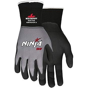 MCR Safety N96790M Ninja BNF Nitrile Gloves, ANSI Puncture 2, Abrasion 4, 15 Gauge Nylon/Spandex Shell with BNF Palm & Fingertips, 1-Pair, Medium