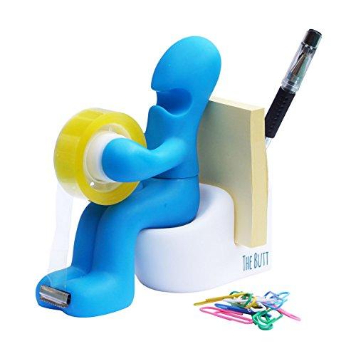 'The Butt' Bürobedarf Station Klebefilmabroller Schreibtisch Zubehörhalter mit Rolle Klebeband und Büroklammern (blau)