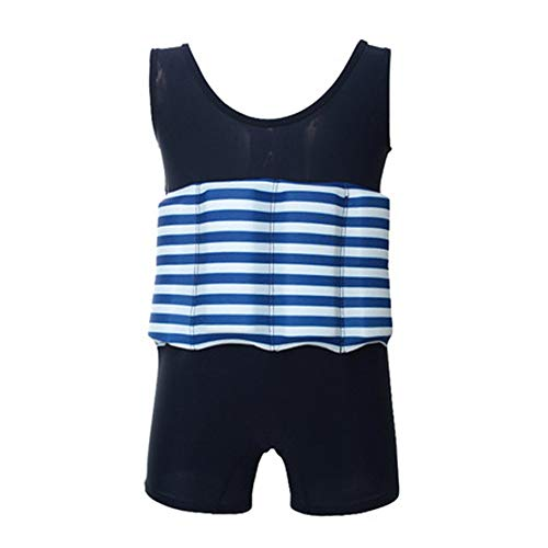 (Striped Floatation Swimsuit with Adjustable Buoyancy Swimwear for 1-6 Years Boys Girls Toddler Float Suit Kids Swim Vest Float Jacket One Piece Floating Bathing Learn to Swim Shorty Suit Black 4-5T)