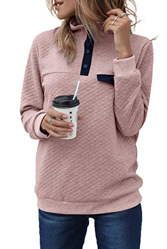 MEROKEETY Women's Long Sleeve V Neck Button Quilted Patchwork Pullover Sweatshirt Tops