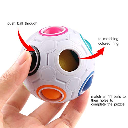 Dreamsdox Rainbow Puzzle Ball,Magic Rainbow Ball Puzzle Cube Fidget Ball,Puzzle Game Fidget Toy Stress Reliever Magic Ball for Kids and Adults, Children, Boy, Girl (White) by Dreamsdox (Image #3)