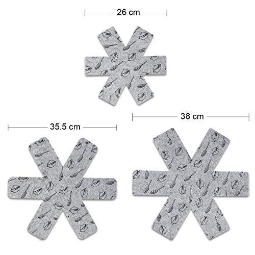 flintronic Protection Casseroles et Protège-poêle, 15PCS Poele Protection(3 Tailles), Premium Coussinets d'intercalaire… 4