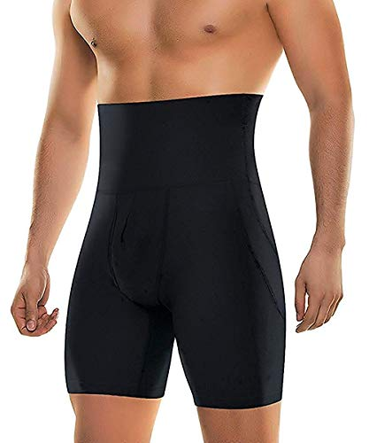- Men's Body Shaper Tummy Control Slimming Shapewear Shorts High Waist bdomen Trimming Boxer Brief Stretch Pants (Black, Small)