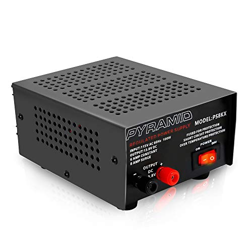 Universal Compact Bench Power Supply - 5 Amp Linear Regulated Home Lab Benchtop AC-to-DC Converter w/ 13.8 Volt DC 115V AC 70 Watt Input, Screw Type Terminal, 12V Car Cigarette Lighter - Pyramid PS9KX (Switch Box Supply Power)