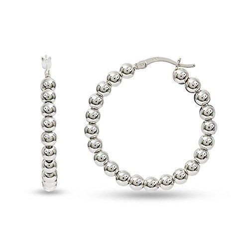 LeCalla Sterling Silver Jewelry Light Hollow Ball Hoop Earrings for Women