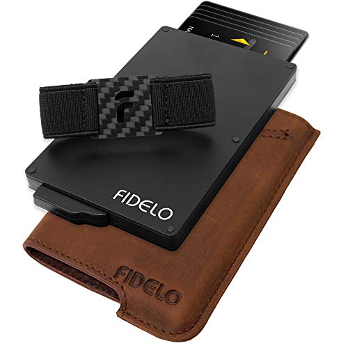FIDELO Minimalist Wallet for Men - Slim Credit Card Holder RFID Mens Wallets and Leather Case ()