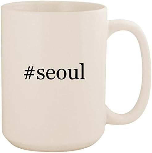 #seoul - White Hashtag 15oz Ceramic Coffee Mug Cup