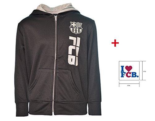 FC Barcelona Zip Up Jacket Hoodie Grey Fleece Youth Boys licensed & Sticker (Black, YL)