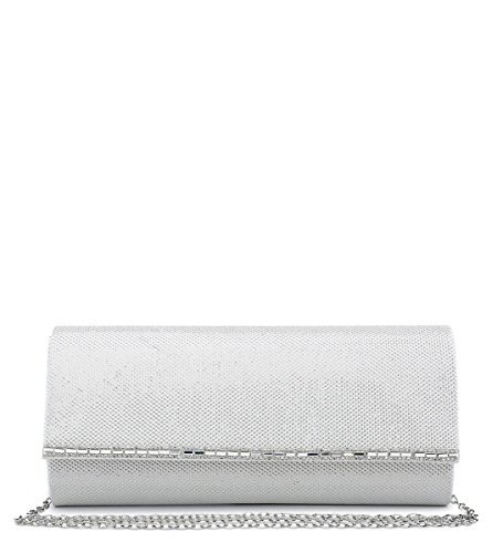 White Dressy Bags Ladies N20 Party Hand Womens Clutch Evening Foldover Shimmer Prom Occasion 7waqYf