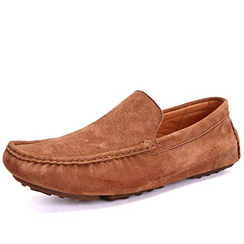 (UNN Mens Loafers Casual Boat Shoes Genuine Leather Slip On Driving Moccasins Hollow Out Breathable Flats (10.5 D(M) US, All Brown))