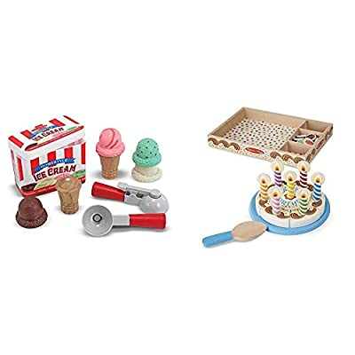 Melissa & Doug Scoop & Stack Ice Cream Cone Magnetic Pretend Play Set - The Original (Best for 3, 4, and 5 Year Olds) & Birthday Party Cake (Best for 3, 4, 5, and 6 Year Olds): Toys & Games