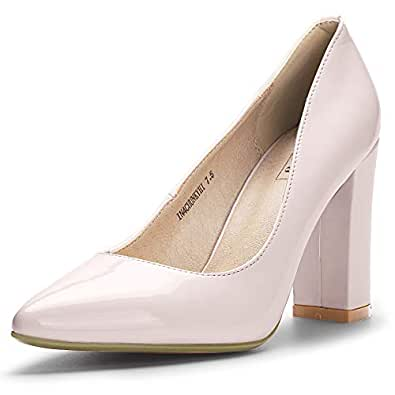 IDIFU Women's IN4 Chunky-HI Classic Closed Pointed Toe Pumps High Chunky Block Heels Dress Office Shoes Pink Size: 9