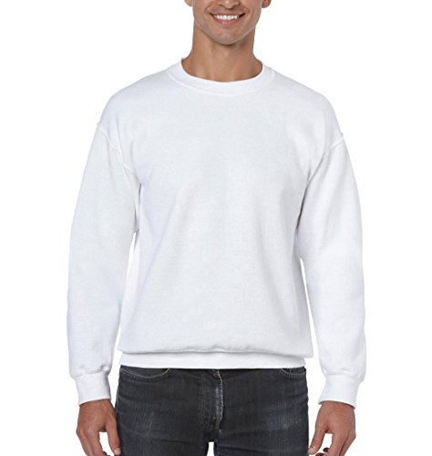 CNlinkco Men's Pullover Sweatshirt, Fashion Cotton Solid Long Sleeve Fleece Crew Tops (L, White)