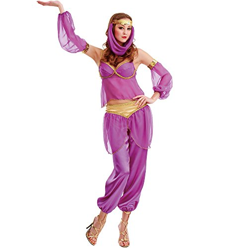 Steamy Genie Women's Halloween Costume Dreamy Arabian Dancer Harem Dress Gown
