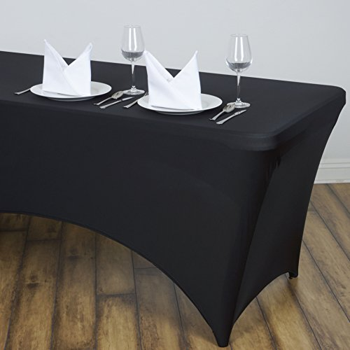 LinenTablecloth 8 ft. Fitted Polyester Tablecloth Black (Sale For 8 Tables Foot)