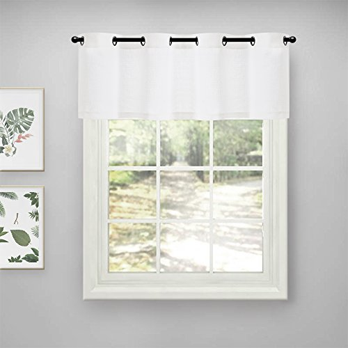 Lazzzy White Kitchen Curtain Valance Semi Sheer Short Café