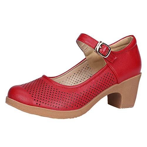 ✔ Hypothesis_X ☎ Adjustable Band Slip On Low Stacked Heel Shoes Prom Ballroom Latin Salsa Dancing Singles Leather Shoes ()