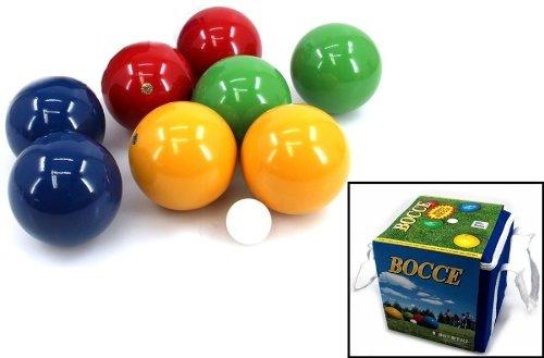 Boccia Set mit 8 Holzkugeln für 4 Spieler (made in Italy), 100 mm in Tragebox