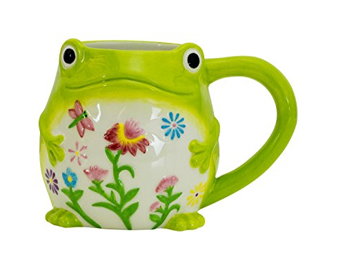- Boston Warehouse Earthenware Mug, Floral Frog Design
