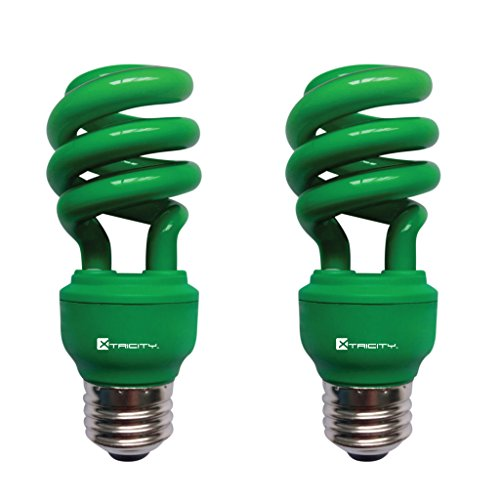 CFL Compact Fluorescent Colored Light Bulb, T2 Spiral, 13W (60 Watt Equivalent), E26 Medium Base, 120V, UL Listed, Green (2 ()