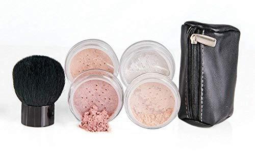 6pc FULL SIZE KIT KABUKI & KABAGGIE Tote Mineral Makeup Set Matte Foundation Bare Face Sheer Powder Cover (Fair ()