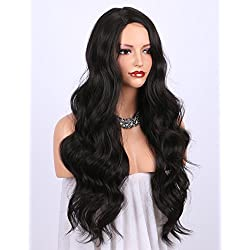 K'ryssma Dark Brown Synthetic Wigs for women - Natural Looking Long Wavy Right Side Parting Heat Resistant Replacement Wig Full Machine Made 24 inches (#2)