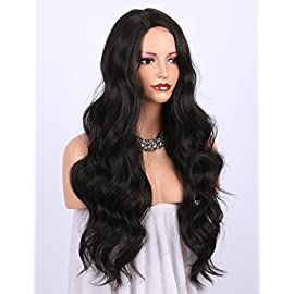 K'ryssma Dark Brown Synthetic Wigs for women – Natural Looking Long Wavy Right Side Parting NONE Lace Heat Resistant…