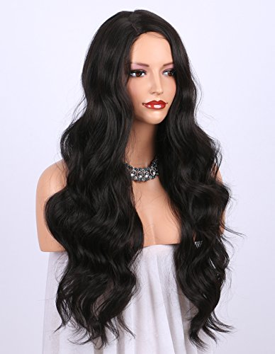 K'ryssma Dark Brown Synthetic Wigs for women - Natural Looking Long Wavy Right Side Parting NONE Lace Heat Resistant Replacement Wig Full Machine Made 24 inches (#2) (Front Lace Black Wigs)