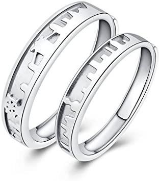 Peaceip S925 Silver Lovers Anillos Hombres y Mujeres un par de ...