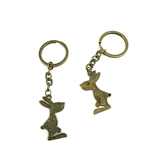 100 Pieces Antique Bronze Keychain Key Chain Tags Keyring Ring Jewelry Making Charms Supplies KC1056 Rabbit Playboy
