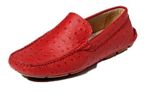 Happyshop (tm) Mens Falso Mocassini Ventilati In Pelle Di Struzzo Slip-on Penny Mocassini Sneakers Moda Appartamenti Rosso