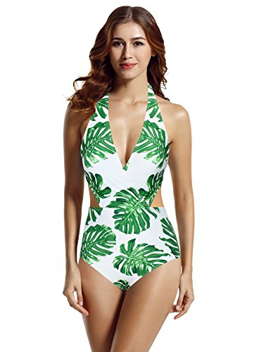 zeraca Women's Surplice Neckline High Waisted Halter One Piece Monokini Swimsuit (Tropical, Large / 14)