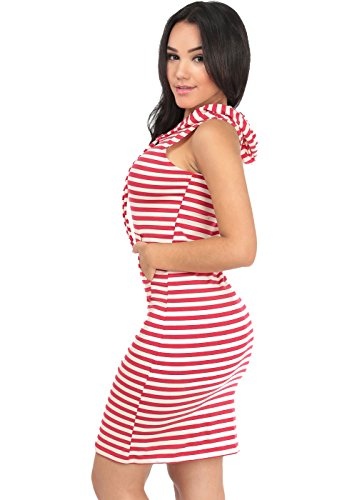 Striped Bodycon Dress with Hoodie, Red-Large