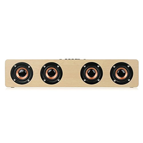 3D Wireless Bluetooth Subwoofer Wood Speaker, elcfan Portable Stereo Sound Bar for Desktop, Laptop,PC, TV, Home Theater - Light Brown by elecfan (Image #6)
