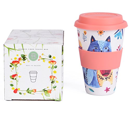Boo In Bloom Reusable Coffee Tea Travel Mug, Bamboo Fiber, 15 ounce, eco friendly & Dishwasher safe, Leak Resistant, Cute//Cat//Travel Cup with Silicone Lid and Sleeve for Women - Bloom Coffee