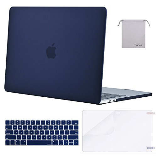 MOSISO MacBook Pro 15 Case 2018 2017 2016 Release A1990/A1707 Touch Bar Models, Plastic Hard Shell & Keyboard Cover & Screen Protector & Storage Bag Compatible Newest Mac Pro 15 Inch, Navy Blue