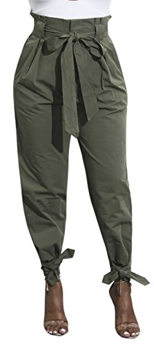 Womens Solid Color Stretch Drawstring Skinny Pants Cargo Joggers ArmyGreen-L