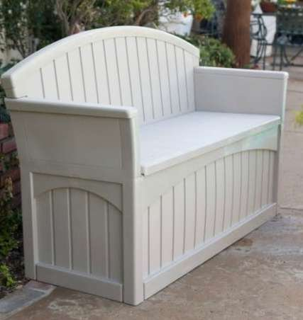 Outdoor Storage Bench, Patio - 50 Gal., Resin, Light Taupe by Premium (Image #4)
