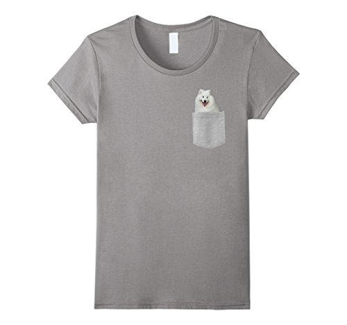 Samoyed Note (Womens Dog in Your Pocket Samoyed t shirt shirt Medium Slate)
