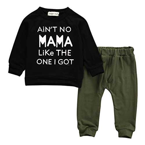 Baby Kids Toddler Boy Printed Tops Pants Leggings Outfits Clothes Set 0 3 Y  0 6 Months  Black